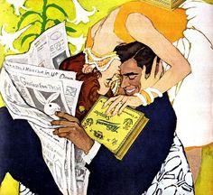 A sweet kiss ~ Al Parker illustration for Whitman's Chocolates. Illustrations Vintage, Illustration Art, Magazine Illustration, Vintage Magazine, Vintage Romance, Foto Art, Arte Pop, Pulp Art, Art Inspo