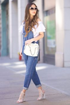 spring outfit, summer outfit, casual outfit, street style, street chic style - white off shoulder top, denim overalls, white heeled sandals, white shoulder bag, white sunglasses