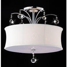 Indoor 5-light Chrome/ Crystal Flush Mount Chandelier ($125) ❤ liked on Polyvore featuring home, lighting, ceiling lights, black, black chandelier lighting, black shade, chrome chandelier, black crystal candelabra and crystal chandelier