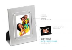 Glitz Photo Frame  Steel And Acrylic Photo Size: 9 ( W ) X 13 ( H ) Vertical Or Portrait Orientation Frame Size: 17 ( W ) X 1.8 ( D ) X 21 ( H ) Acrylic Photo, Gadget Gifts, Frame Sizes, Frames, Steel, Portrait, Men Portrait, Frame, Picture Frames