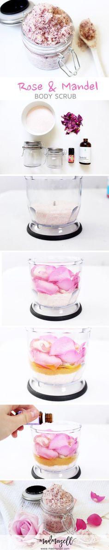 DIY Körperpeeling Bodyscrub Peeling mit Rose-Mandel Duft und Himalaya Salz Selbermachen