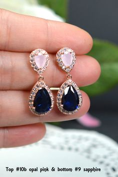 Blush pink navy blue ROSE GOLD Wedding Jewelry Bridesmaid Gift Bridesmaid Jewelry Bridal Jewelry earring Drop dangle Earring,bridesmaid gift by TheMagnoliaJewelry on Etsy https://www.etsy.com/listing/264313606/blush-pink-navy-blue-rose-gold-wedding
