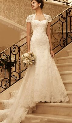 lace mermaid wedding dress | Lace Empire Sheath Chapel Train Queen Anne Wedding Dress