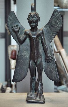 "Statuette of Pazuzu, Assyrian, beginning of the 1st millennium BC. Pazuzu was one of the demon-gods of the underworld, although he was sometimes invoked to beneficial ends. The inscription on the back of the wings reads: ""I am Pazuzu, son of Hanpa, king of the evil spirits of the air which issues violently from mountains, causing much havoc."" Louvre Museum, Paris."