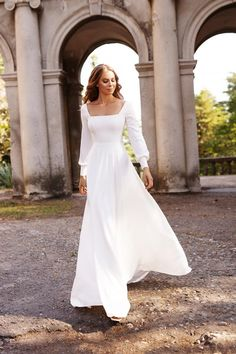 Modest Wedding Dresses With Sleeves, Wedding Dresses Photos, Dream Wedding Dresses, Modest Dresses, White Dress With Sleeves, Sleeve Wedding Dresses, Modest White Dress, Civil Wedding Dresses, Wedding Dress Styles