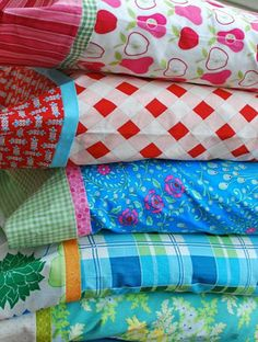 Fun colors and mixing of fabrics for pillow cases.