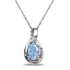 Diamond Accent Aqua Pendant in 10k White Gold Nissoni Jew...…