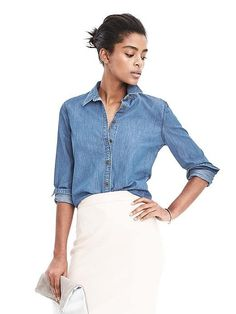 Doesn't have to be this pricey! But I'd love a new slim fit denim button down like this!
