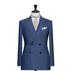 Tailored 2-Piece Suit – Fabric 4586 Stripe Blue Cloth weight: 250g Composition: 100% Wool Super 130's
