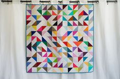 Colorful Triangle Quilt Modern Rainbow quilt with Michael Miller solids, $500   joshandpaise, etsy