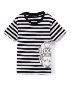 Black & White Stripe Dive Helmet Tee - Infant Toddler & Boys
