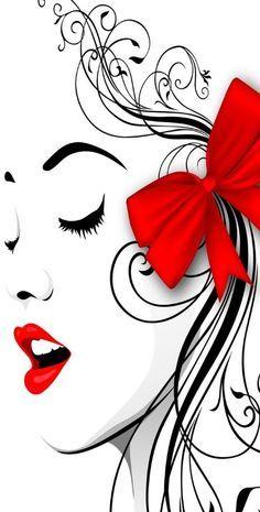 Woman Face Red Lips & Ribbon desktop PC and Mac wallpaper Poster Design, Arte Pop, Woman Face, Lady Face, Girl Face, Red Lips, Line Art, Pop Art, Art Drawings