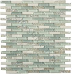 Euro Glass  Crystile Blends, Uniform Brick, Jewelled Spa, Glossy & Iridescent, White, Glass and Stone Tiles