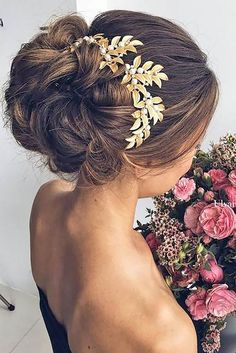 Ulyana Aster wedding updo hairstyle with good hair headpiece - Deer Pearl…
