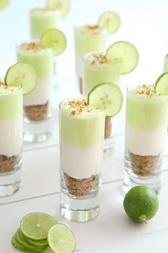 5 Super Easy and Delicious Dessert Shooters - top 5 inspired things Key Lime Cheesecake Shots Recipe from I would try to add I'm KeKe Beach liquor Wedding Food Dessert Shot Glasses 65 Ideas For 2019 Buffet Table Ideas—Decorating & Styling Tips by a Pro Mini Desserts, Shot Glass Desserts, Fluff Desserts, Brownie Desserts, Easy Desserts, Parfait Desserts, Parfait Recipes, Small Desserts, Unique Desserts
