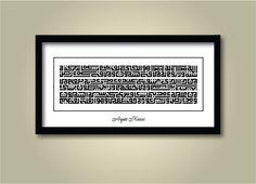 Ayat Kursi Islamic Art Calligraphy, Typography, Frame, City, Home Decor, Letterpress Printing, Room Decor, Frames, Cities