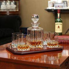 Galway Irish Crystal Longford Whiskey Decanter & 4 Glasses Tray Set