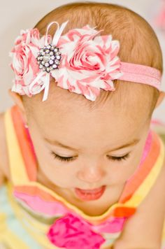 Pink and White Headband Newborn Headband Girls