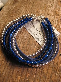 Crossley Design--Beaded leather bracelet
