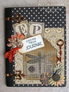 """Altered Composition Book """"EP Get Altered Challenge"""" Mini Albums, Mini Scrapbook Albums, Scrapbook Journal, Graphic 45, Altered Books, Altered Art, Altered Composition Notebooks, Paper Art, Paper Crafts"""