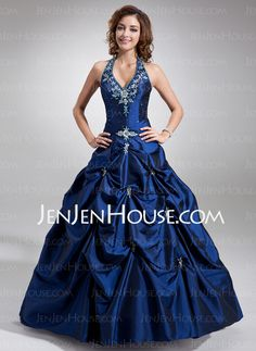 Quinceanera Dresses - $175.99 - Ball-Gown Halter Floor-Length Taffeta Quinceanera Dress With Embroidered Beading (021004580) http://jenjenhouse.com/Ball-Gown-Halter-Floor-Length-Taffeta-Quinceanera-Dress-With-Embroidered-Beading-021004580-g4580