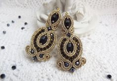 Gold black soutache earrings-Soutache jewelry-Stud от JaneEJewelry