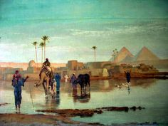 Egypt , Old Cairo Paintings: Nile overflow by Frederick Goodall R.A - 1822-1904