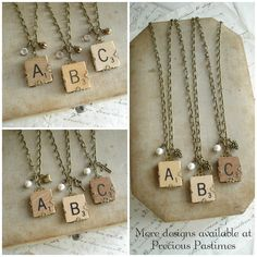 Scrabble Tile Necklace. Custom Initial by PreciousPastimes on Etsy