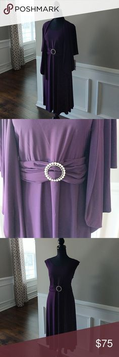 Purple Special Occasion Dress with Jacket NWT Purple special occasion dress can be worn with or without jacket. Rhinestone embellishment at waist. *NWT* Another Thyme Dresses