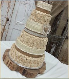 Rustic Burlap and Lace Wedding   Cake   Weddings   Pinterest   Lace     Burlap   Lace Cake Ideas and Inspirations