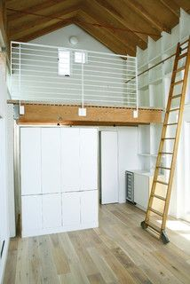 Extraordinary Loft Bed Station Ideas In Garage And Shed Modern Design Ideas With Built In Shelves Exposed Beams Library Ladder Light Simple Bathroom Ladder Design Ideas Studio Loft, Garage Studio, Tiny Studio, Dream Studio, Garage Design, Loft Design, House Design, Modern Design, Studio Design