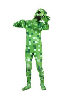 Kids Pixelated Green Monster Morphsuit Costume