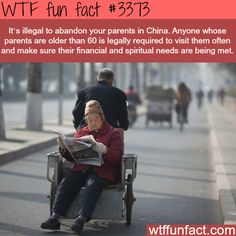 It's illegal to abandon your parents in this country - WTF fun facts