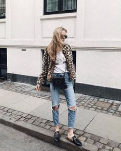 20599ac836d leopard jacket    ripped jeans    Gucci slides Fur Loafers