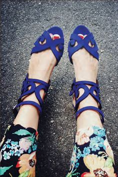 Bright blue baroque statement shoes by Loeffler Randall