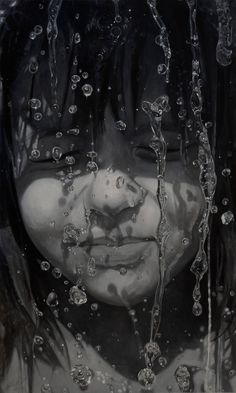 "https://flic.kr/p/CNYutw | Sándor Hartung - Sári | ""Raindrops frozen in front of a little girl's face. It is the broader interpretation of the rainy days in life. Painted in grisaille, in black and white.""  [Saatchi Art - Oil on canvas, 90 x 150 cm]"
