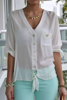 Discover this look wearing LSM Tops - Dana Tie Front Ivory Top by Shirts Blouses That Make You Look Fabulous - Daily Fashion OutfitsDizzy Shirts Blouses from 20 of the Perfect Shirts Blouses collection is the most trending fashion Blouse Styles, Blouse Designs, Shirt Blouses, Shirts, Chic Outfits, Fashion Outfits, Summer Blouses, Elegant Outfit, Mode Style