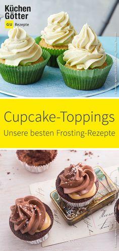 Muffins sind lecker, aber Cupcakes sind himmlisch. Wir haben schnelle und ausgefallene Frostings und Toppings für dich zusammengestellt. Cupcake Toppings, Cupcake Frosting, Muffins Topping, Snack Recipes, Dessert Recipes, American Desserts, Mini Cupcakes, Food Inspiration, Sweet Tooth