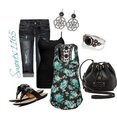 """""""Floral Crocheted Racerback Tank"""" by smores1165 on Polyvore"""