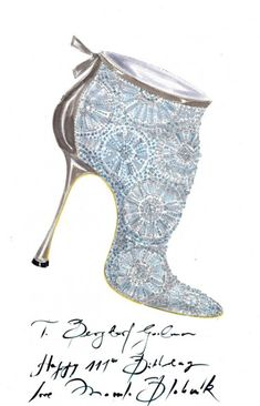 Manolo Blahnik  I designed this kicky little bootie just for my favorite folks at Bergdorf's to celebrate a fantastic birthday . . . 111!!! . . . I said that it had to be special and filled with sparkle . . . punch and a lot a pizzazz . . . and here it is!!!