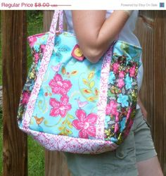 SALE Satchel XL tote bag - easy pdf purse sewing pattern -  great diaper bag, travel bag or carry all - Instant Download