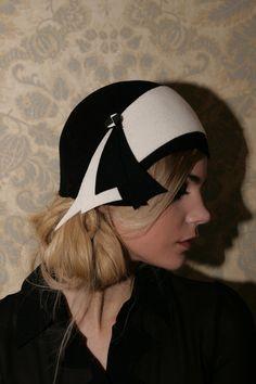Cloche Hat, Hand Made, Felt Hat Black 1920 style