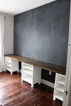 Option for kids area? With Trofasts underneath instead? DIY 12-Foot Long Double Desk - Icing On The Cake Blog