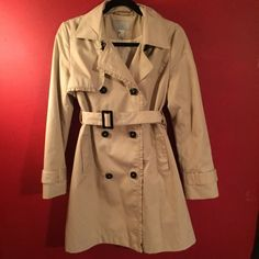 Beige H&M ruffle trench A classic style with a cute twist! Size 6 and perfect condition. Probably fits more like a 4 because of weird H&M sizing. H&M Jackets & Coats Trench Coats