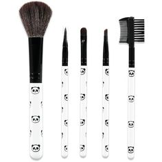 Forever21 Panda Cosmetic Brush Set ($4.90) ❤ liked on Polyvore featuring beauty products, makeup, makeup tools, makeup brushes, makeup blending brush, forever 21 makeup brushes, face brush, face makeup brushes and angled face brush
