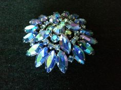Vintage 1950's rhinestone brooch blue aurora borealis faceted prong set large round firework mid century costume jewely silver bling sparkle