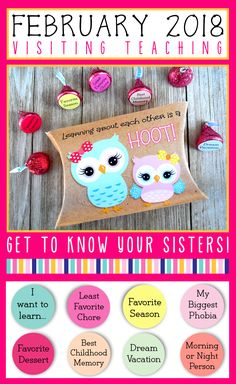February 2018 Visiting Teaching Printables || get to know your sisters! Pillow Box Template, Visiting Teaching Message, Relief Society Activities, Family Home Evening, Getting To Know You, Printables, Valentines, February, Sisters