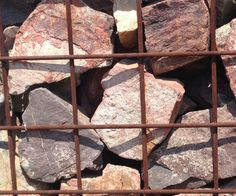 Rusty Gabion with stones