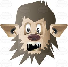 Werewolf Man Face With Brown Hair, Pointy Ears, Dog Nose And Sharp Canine Teeth Rounded Square Block Head #autumn #bite #candy #celebration #chase #costume #creature #fall #fright #full #halloween #haunt #holiday #horror #man #midnight #monster #moon #nightmare #october #scare #spooky #transform #trickortreat #were #wolf #vector #clipart #stock