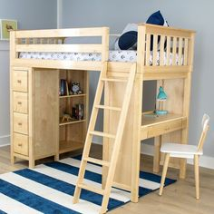 Harriet Bee Ayres Twin Loft Bed with Drawers Finish: Natual Childrens Bunk Beds, Kids Bunk Beds, Sharing Bed, Loft Bed Plans, Low Loft Beds, Deco Kids, Twin Platform Bed, Bed With Drawers, Loft Spaces